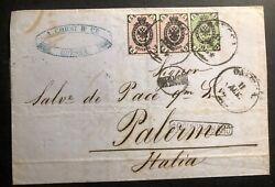 1874 Odessa Russia Letter Sheet Cover To Palermo Italy Stamp Sc20 22
