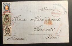 1869 Moscow Russia Letter Sheet Cover To Grenoble France Hv Stamp Sc20 22a 24