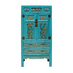 Chinese Fujian Blue Golden Carving Graphic Armoire Storage Cabinet cs5178