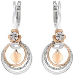 .44ct Diamond 14kt White And Rose Gold 3d Flower Multi Circular Hanging Earrings