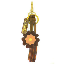 The Bridge Cortona Key Ring Fob Red Gold Woman Leather Flower 0929584H