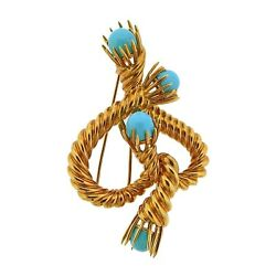 Tiffany & Co Schlumberger Turquoise Gold Brooch Pin