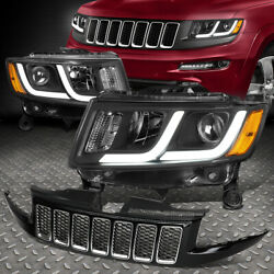 For 14-16 Jeep Grand Cherokee Pair Led Drl Projector Headlight+bumper Grille
