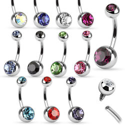 120-Piece Belly Ring Wholesale Lot 14G Surgical Steel Internally Threaded CZ Gem