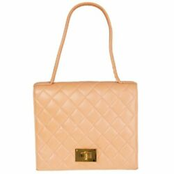 57809 Auth Pale Salmon Pink Quilted Leather Handbag Bag Vintage