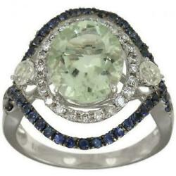 Green Amethyst Diamond Halo Ring With Sapphires 6.10ctw 6.25 Gr 18k Wg Size 7.25