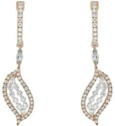 1.0ct Diamond 18kt White And Rose Gold Double Leaf Leverback Fun Hanging Earrings
