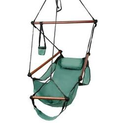 Deluxe Air Hammock Hanging Patio Tree Sky Swing Chair Outdoor Porch Lounge Green