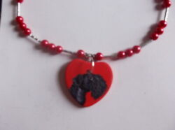 Kerry Blue Terrier Dog Beaded Red Necklace Hand Painted Ceramic Pendant Jewelry