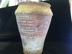 Ancient Wonderful Painted Old Pottery Ewer With Multi Wild Animals.roman Potery