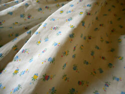 Antique Small Scale Bell Flower Floral Cotton Fabric Yellow Blue Pink Dolls