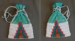 Very Fine Early 1900 Native American Plains Beaded Medicine Bag Double Sided