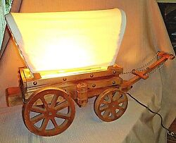 Vintage Handcrafted Conestoga Wagon Table Lamp - Wood And Muslin - Great Detail