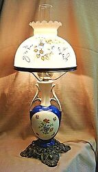 Stunning Vintage / Antique Ceramic Lamp W/hurricane And Hand Painted Glass Shade