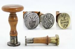 2x Antique 18th C Wax Stamp 3x Seal Coat Of Arms Sword 3 Stars 3 Eagle Legs