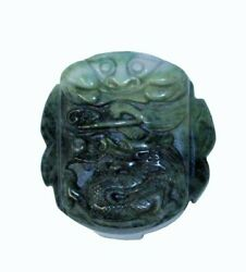 Jade Stone Chinese Ancient Rectangular Belt Buckle Decor Feng Shui Dragon n398