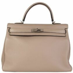 58741 auth HERMES Gris Tourterelle grey leather & silver KELLY 35 RETOURNE Bag