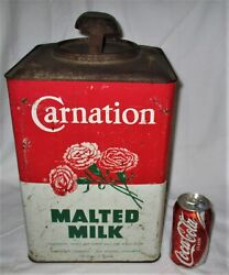 Antique Country Primitive Usa Sign Carnation Dairy Malted Milk Flower Lg Tin Can