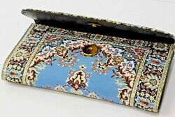 Authentic Tapestry Woman Wallet with woven tapestry and faux leather Handmade