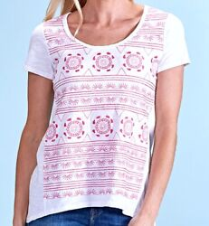 Fresh Produce Large White Pink Embroidery Brighton Luna Scoop Top 69 Nwt New L