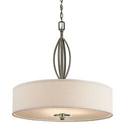 Kichler 42482  Leighton 3-Bulb Indoor Pendant with Drum-Shaped Fabric Shade -