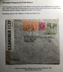 1944 London England Censored Cover To Argentina Norwegian Trade Mission