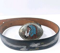 Vtg Native American Indian Chief Turquoise Belt Buckle Hand Paint Airbrush Eagle