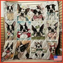 Boston Terrier Cute Dog Collection Washable PreShrunk Poly Cotton Quilt Us Stock
