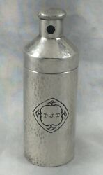 Hammered Wallace Sterling Flask - 3 1/2mono Pjt W/twist Top