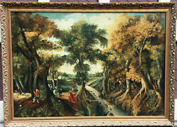 Antique English School Oil On Canvas Painting Wooded Landscape With Figures