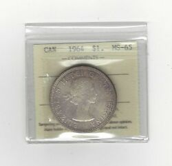 1964 Iccs Graded Canadian,silver Dollarms-65