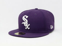 New Era 59Fifty Hat Mens MLB Team Chicago White Sox Deep Purple White Fitted Cap $32.00