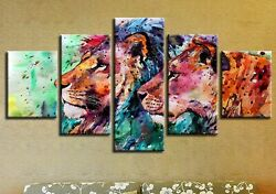 Abstract Colorful Lion Couple 5 panel canvas Wall Art Home Decor Print Poster