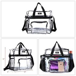 Clear Tote Bag Stadium Approved Transparent Vinyl Waterproof Shoulder Strap New $17.99
