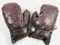 Antique Vintage Kids Childs Play Toy Pair Boxing Gloves Nice Leather
