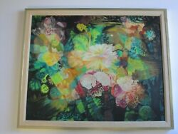 GERDA WITH 1970'S RETRO FLOWER ABSTRACT EXPRESSIONISM PAINTING POP COLORFUL BOLD