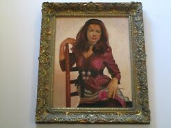 GORGEOUS 1970'S RETRO WOMAN MODEL PAINTING STUNNING HIP HOLSCHER REALISM VINTAGE