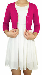Women Cropped Cardigan 3/4 Sleeve Fitted V-neck Soft Knit Regular And Plus Size
