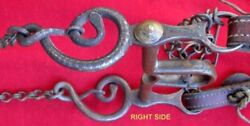 Rare Antique Kidand039s Set Silver Inlaid Rattlesnake Pony Size Bit Headstall And Reins