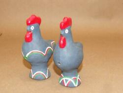 2 Vintage Black Pottery Clay Folk Art Hand Made Painted Chicken Whistle Set 4.5
