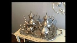 1950andrsquos Rogers Silver Coffee And Tea Serive Tray 5 Piese Set Very Heavy