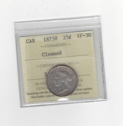 1875h Iccs Graded Canadian 25 Cent Vf-30 Cleaned