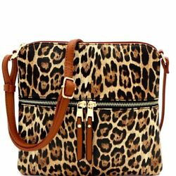 Leopard Print Front Pocket Cross Body Messenger $18.97