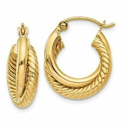 14k Polished & Twisted Double Hoop Earrings New Yellow Gold