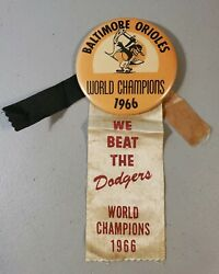 1966 Baltimore Orioles World Champs 3.5 Button W/ribbons We Beat The Dodgers