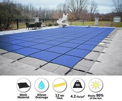 Gli Secur-a-pool Blue Mesh Rectangle Swimming Pool Safety Cover - Choose Size