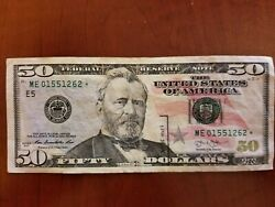 """2013 50 Fifty Dollars Rare Star Note – Currency, Bill - """"me"""" – Near Unc"""