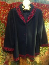 Stunning Past Times Jacket Navy With Raspberry Color Edging.sz L High Quality.