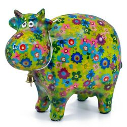 Green Cow Ceramic Coin Piggy Bank Figurine 7.25 Long Flowers Pattern New