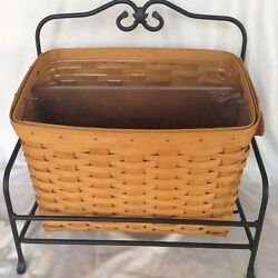 Longaberger Newspaper Basket 2001 Protector Wood Divider Wrought Iron Stand